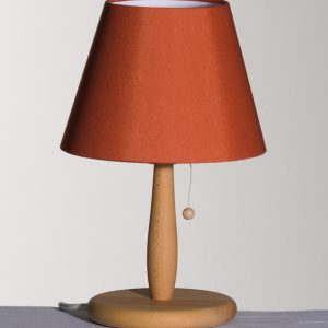Bordlampe i Bøketre, Chintz ,Terracotta