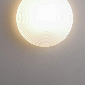 Tak- og Vegglampe, i bølget glass, 1xE27/60W, d=40cm