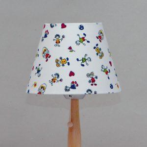 Buchenholz- Tischleuchte, Baumwolle Schirm «spielende Kinder»