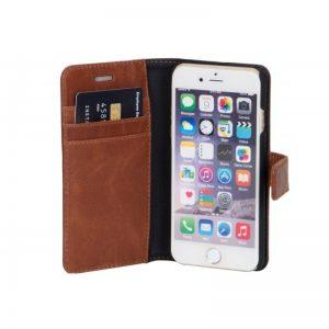 "Flip-side mobildeksel – ""Exclusive"" – til iPhone 6, 7 og iPhone 8 – Brun – Ekte Geiteskinn – 86% beskyttelse"